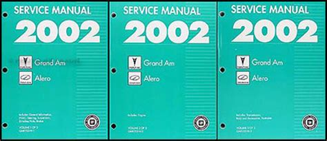 auto repair manual free download 2003 pontiac grand am parking system 2002 pontiac grand am and olds alero repair shop manual original 3 volume set