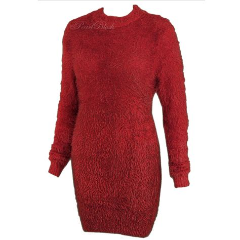 Ladies Womens Long Furry Jumper Dress Soft Fluffy Mohair Oversized Stretchy Top | eBay