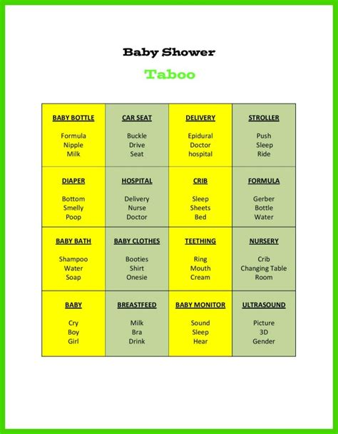 baby shower taboo game