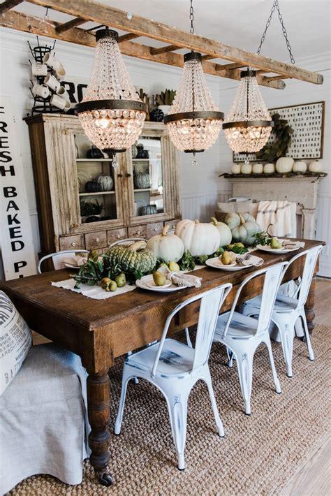 farmhouse kitchen table decor ideas happy fall rustic pumpkin pear farmhouse table