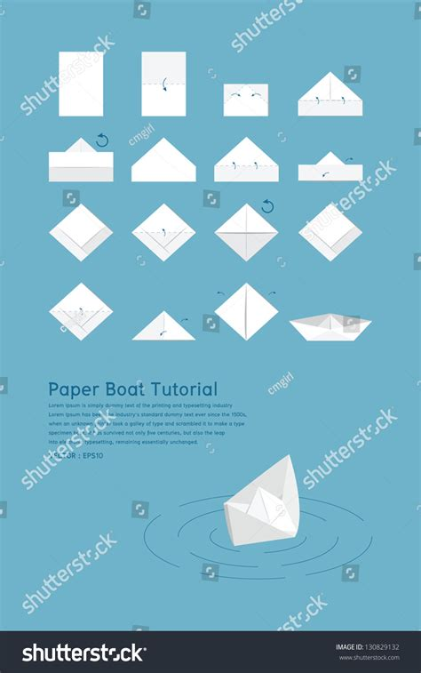 Paper Boat Tutorial by Paper Boat Tutorial Vector 130829132