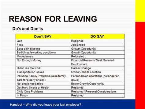 reason for leaving