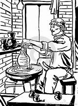 Wheel Pottery Potter Clipart Potters Jug Does Drawing sketch template