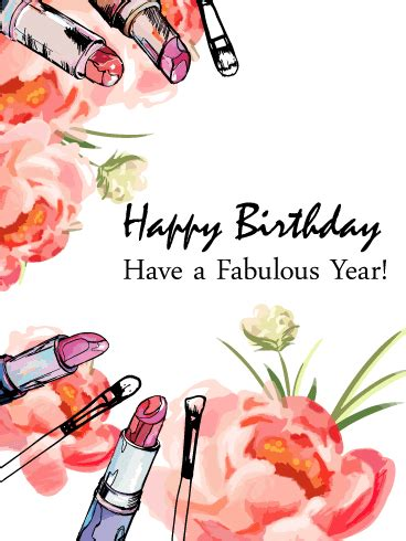 flowers lipsticks happy birthday card birthday
