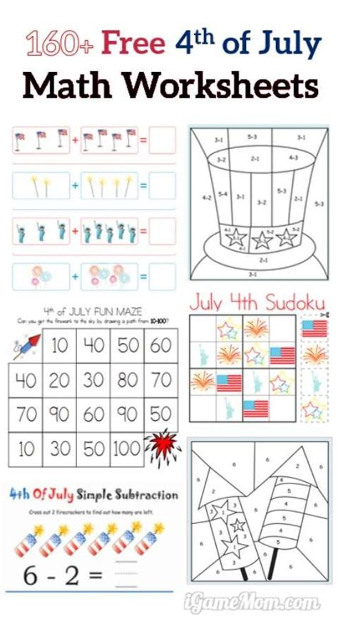 160 fourth of july printable math worksheets free