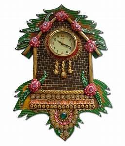 Unique, Indian, Crafts, Assymetric, Analog, Wall, Clock, D, U00e9cor, Watch, 24, X, 44, Cm, Buy, Unique, Indian