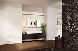 carrelage salle de bains 34 idees avec la belle mosaique With carrelage marron salle de bain