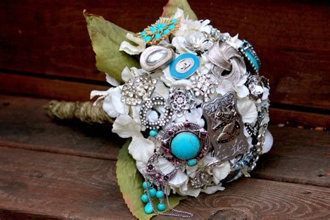 country western bouquet cowgirl turquoise bridal bouquet