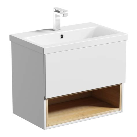 tate white oak  wall hung vanity unit  basin