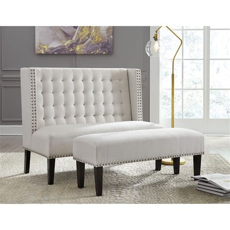 Bench Settee Furniture by Signature Design By Beauland Oatmeal Fabric Accent