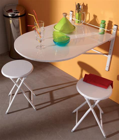 table de cuisine petit espace table murale 2 tabourets sinai blanc