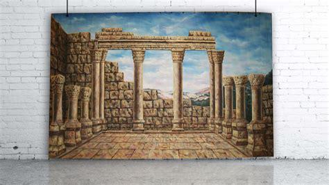 greek ruins backdrop lolliprops event prop furniture hire