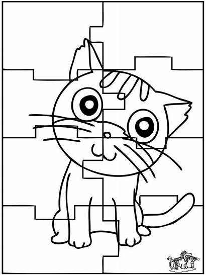 Puzzle Cat Coloring Puzzles Piece Cats Pages