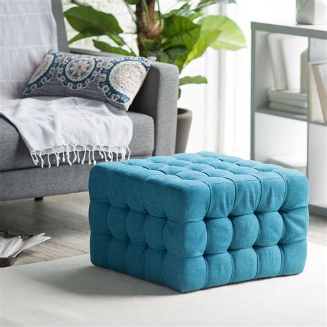 living room square blue tufted pouf ottoman living room