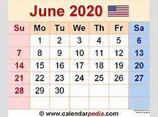 June 2020 Calendars for Word, Excel & PDF