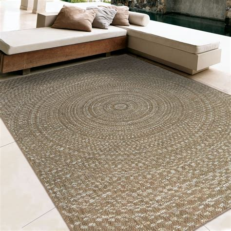 orian rugs indoor outdoor circles cerulean gray brown