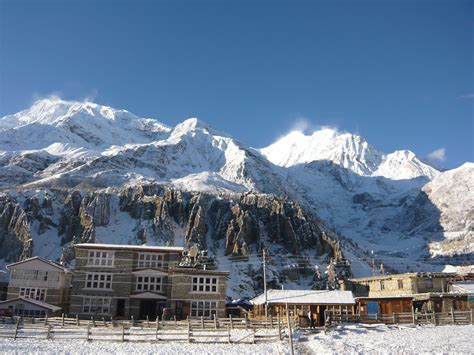 A fresh coat of snow over Manang
