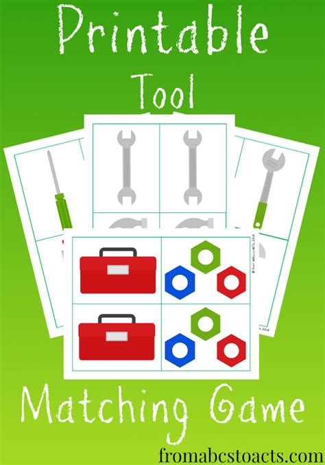 memory for tool matching from abcs to acts 657 | Printable Tool Matching Game