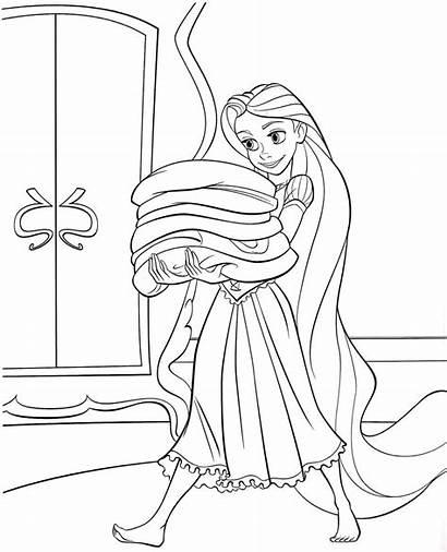 Rapunzel Coloring Tangled Disney Princess Printable Mewarnai