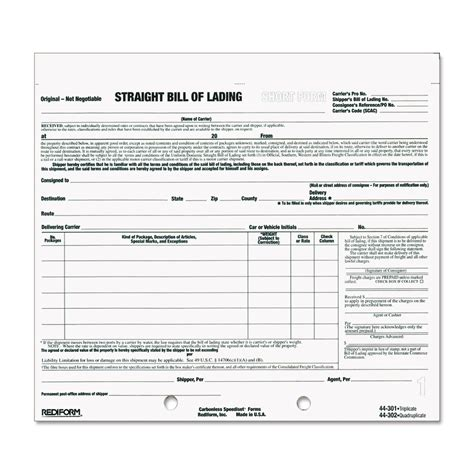 bill of lading short form template free resume straight