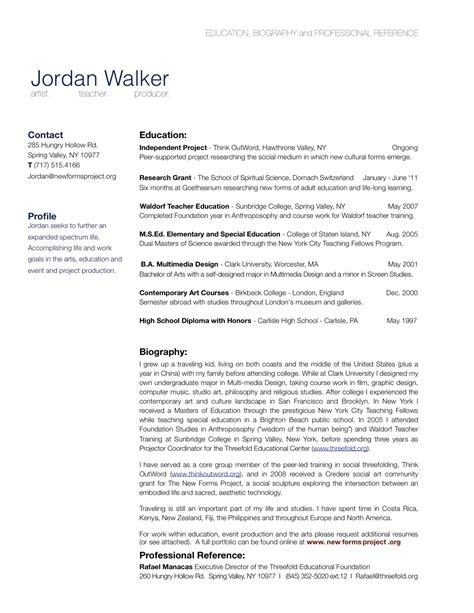 bio cv resume exle free resume cv exle