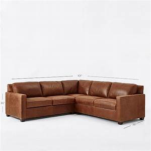 henryr 3 piece l shaped sectional leather west elm With henry leather sectional sofa