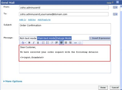 send email message  form data