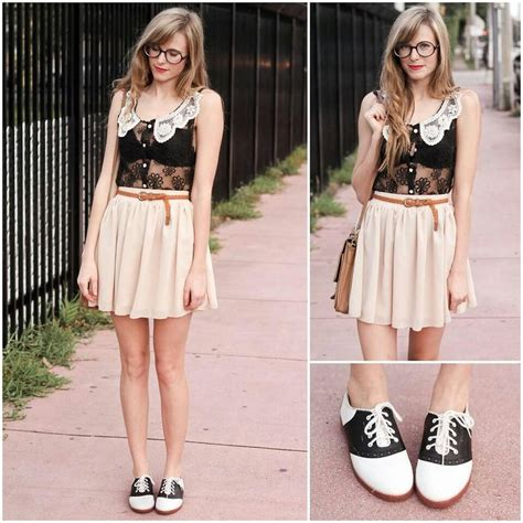 I want Oxfords so badly! Classic black and white saddle shoes give a cool vintage feel to an ...