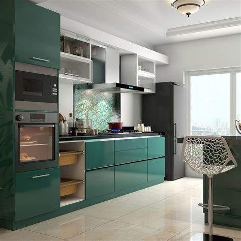 glossy green cabinets infuse vitality   kitchen