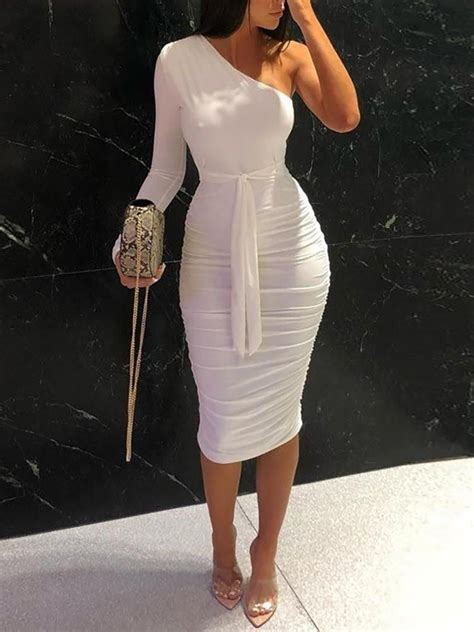 shoulder ruched design bodycon dress chicme shoes