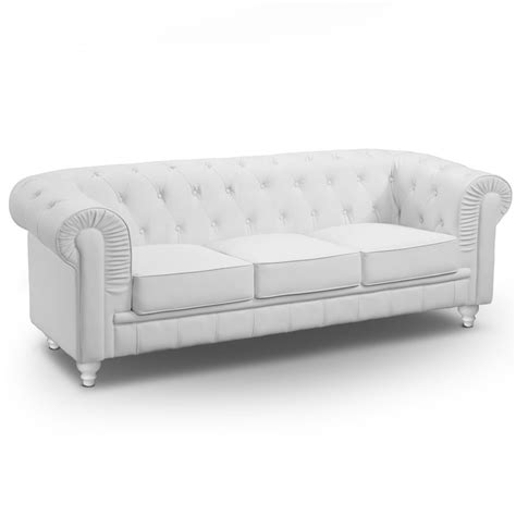 canapé d angle convertible confortable canapé 3 places chesterfield blanc