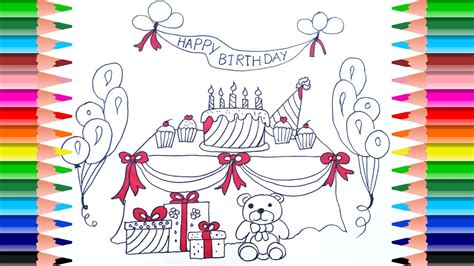 How To Draw A Birthday Party Set For Kids