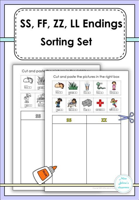 ss zz worksheets ss ff zz ll sorting set language arts literacy and