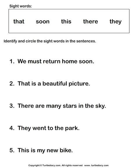 identify sight words      worksheet