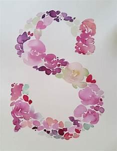 watercolour floral monogram letter s watercolour florals With floral monogram letter