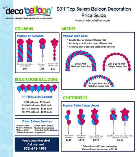 bureau price balloon decoration prices favors ideas