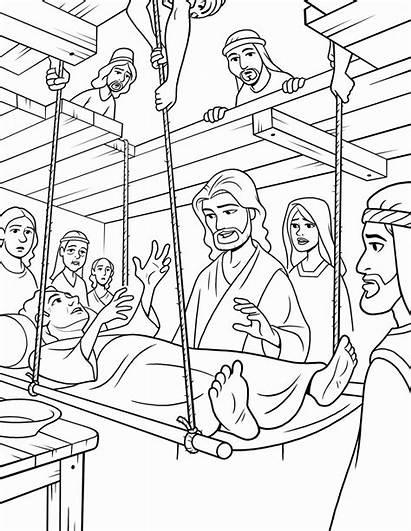 Jesus Coloring Healing Heals Roof Through Lowered