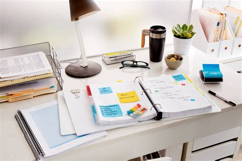 bureau post it 3m post it study organization office supplies important