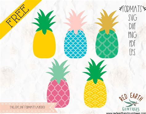 Learn to make your own svg cut files for free in inkscape. Free Colorful Pineapples with pattern cut files in SVG ...