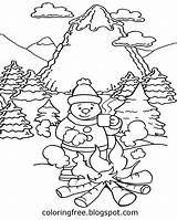 Coloring Snow Drawing Scene Printable Weather Mountain Camping Ski Holiday Warm Frozen Craft Activities Camp Sitting Keep Fire Around sketch template
