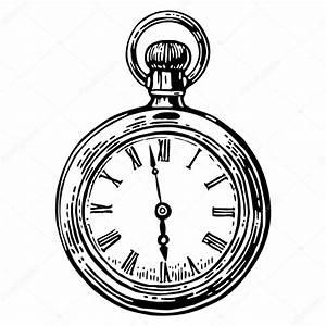 Antigo relógio de bolso Vintage ilustração gravada em vetor Preto sobre fundo branco Vetor