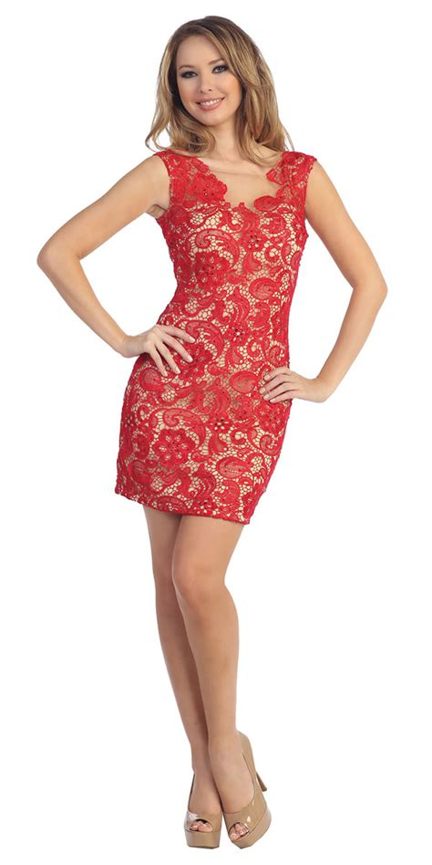 red nude form fitting lace dress special dresses