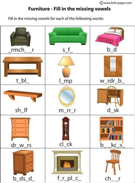house worksheets furniture fill  worksheet home index