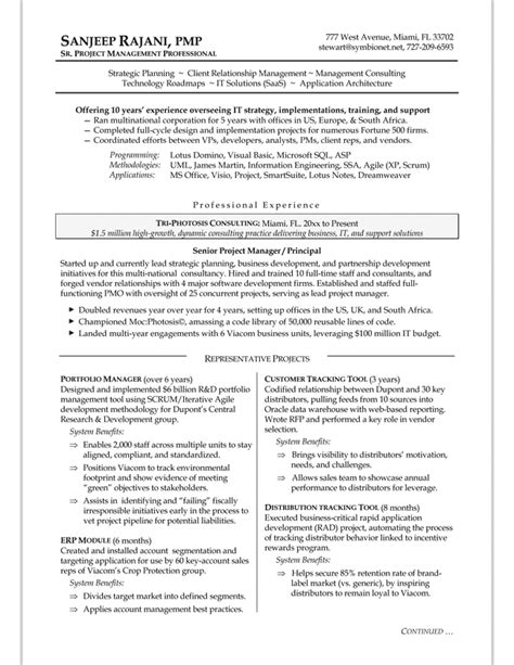 resume of experienced project manager project manager resume sle bidproposalform