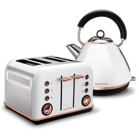 accents rose gold white pyramid kettle   slice toaster set