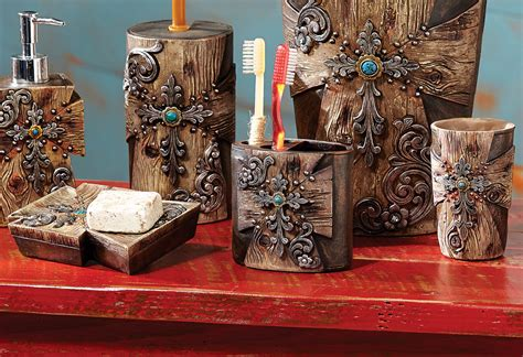 rustic cross bath set 3 pcs