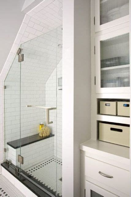 Positioning the shower under a sloping roofline of a