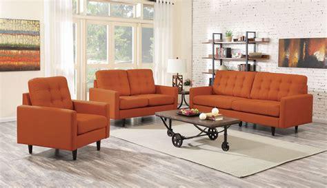 orange living room furniture kesson orange living room set 505371 coaster furniture