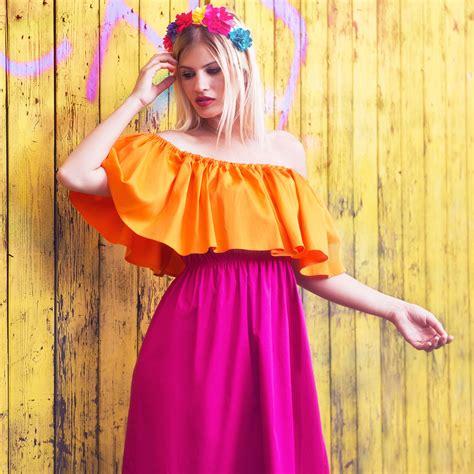 two color dress shoulder two color dress zaga shop