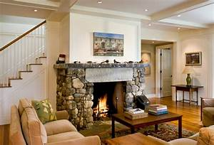 Living Room and Fireplace - Farmhouse - Living Room